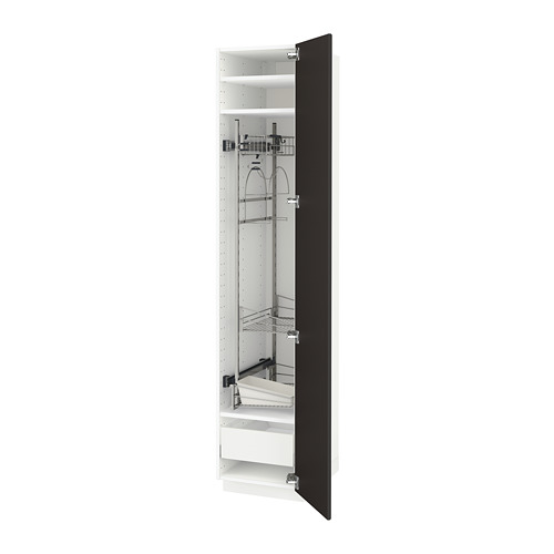 METOD/MAXIMERA - high cabinet with cleaning interior, white/Kungsbacka anthracite | IKEA Hong Kong and Macau - PE634108_S4