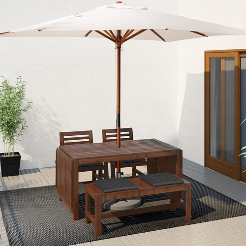 ÄPPLARÖ - table+2 chrs w armr+bench, outdoor brown stained | IKEA Hong Kong and Macau - PE619185_S4