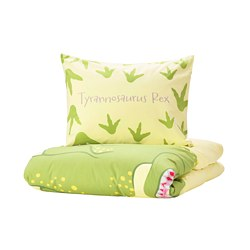 JÄTTELIK - quilt cover and pillowcase, Tyrannosaurus Rex/Triceratops/yellow | IKEA Hong Kong and Macau - PE769793_S3