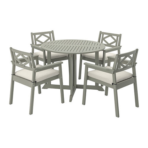 BONDHOLMEN table+4 chairs w armrests, outdoor