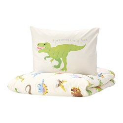 JÄTTELIK - quilt cover and pillowcase, Dinosaurs/white | IKEA Hong Kong and Macau - PE769900_S3
