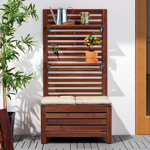 ÄPPLARÖ - 戶外長凳連牆架層板組合, 染褐色 | IKEA 香港及澳門 - PE618933_S4