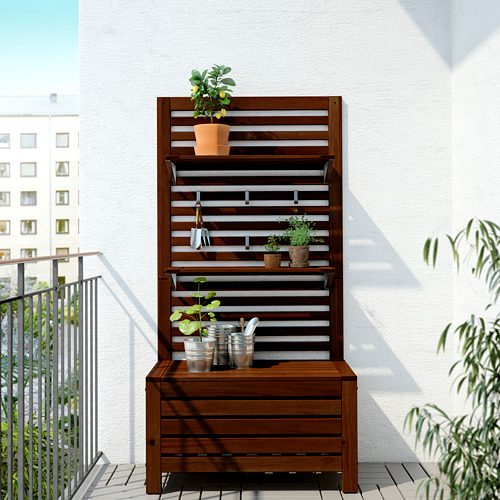 ÄPPLARÖ - 戶外長凳連牆架層板組合, 染褐色 | IKEA 香港及澳門 - PE619330_S4