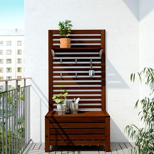 ÄPPLARÖ - bench w wall panel+ shelf, outdoor, brown stained | IKEA Hong Kong and Macau - PE619329_S4