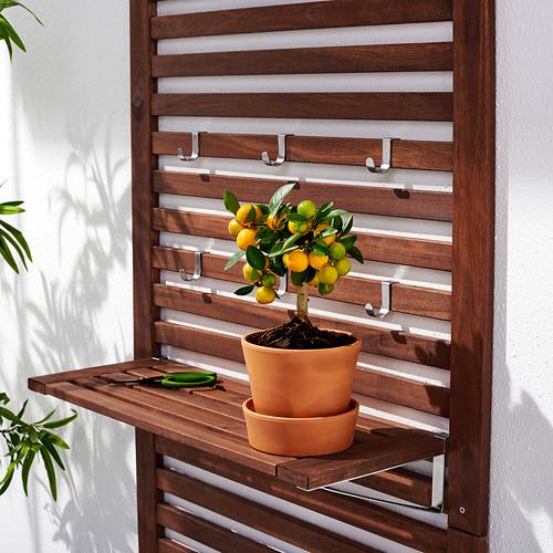 ÄPPLARÖ - bench w wall panel+ shelf, outdoor, brown stained | IKEA Hong Kong and Macau - PE621139_S4