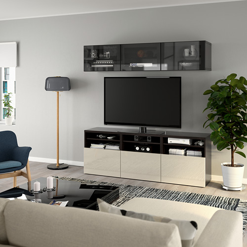 BESTÅ - 電視貯物組合/玻璃門, black-brown/Selsviken high-gloss/beige clear glass | IKEA 香港及澳門 - PE770045_S4