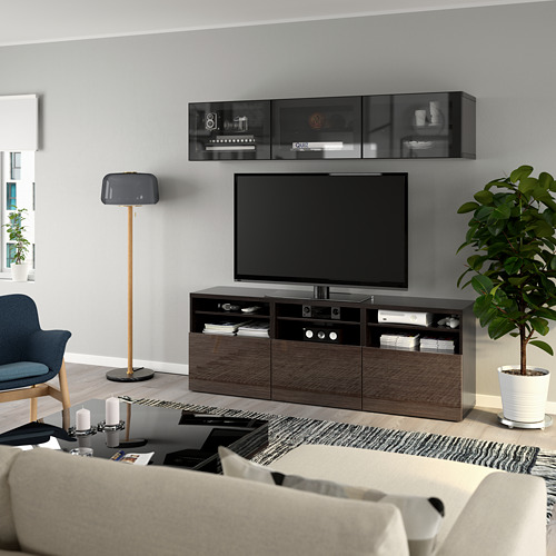 BESTÅ - 電視貯物組合/玻璃門, black-brown/Selsviken high-gloss/brown clear glass | IKEA 香港及澳門 - PE770035_S4
