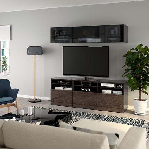 BESTÅ - 電視貯物組合/玻璃門, black-brown/Selsviken high-gloss/brown smoked glass | IKEA 香港及澳門 - PE770048_S4