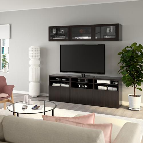 BESTÅ - 電視貯物組合/玻璃門, black-brown/Lappviken black-brown clear glass | IKEA 香港及澳門 - PE770038_S4