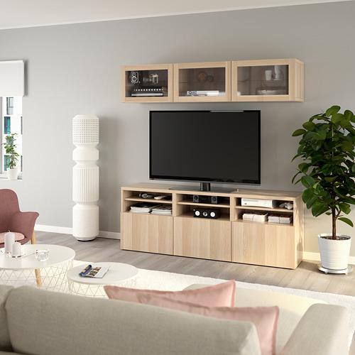 BESTÅ - 電視貯物組合/玻璃門, white stained oak effect/Lappviken white stained oak eff clear glass   IKEA 香港及澳門 - PE770042_S4