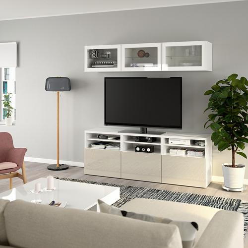BESTÅ - 電視貯物組合/玻璃門, white/Selsviken high-gloss/beige clear glass   IKEA 香港及澳門 - PE770043_S4