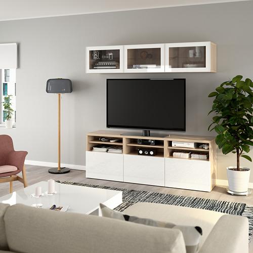 BESTÅ - 電視貯物組合/玻璃門, white stained oak effect/Selsviken high-gloss/white clear glass | IKEA 香港及澳門 - PE770047_S4
