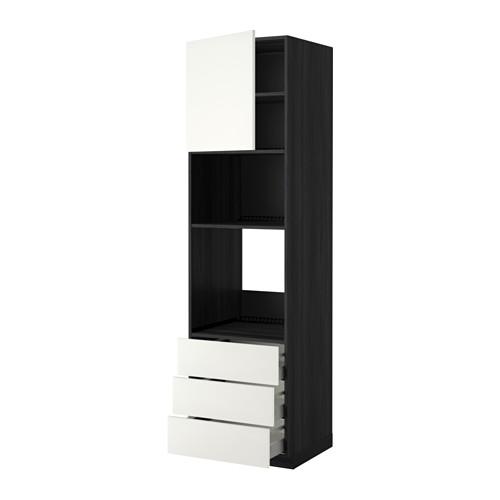 METOD - 微波爐/焗爐用高櫃連抽屜櫃門組合, 黑色 Maximera/Häggeby 白色 | IKEA 香港及澳門 - PE343345_S4