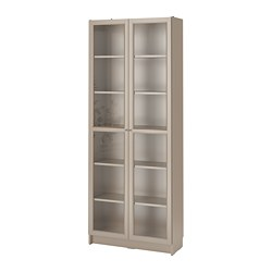 BILLY - bookcase with glass-doors, grey/metallic effect | IKEA Hong Kong and Macau - PE770197_S3