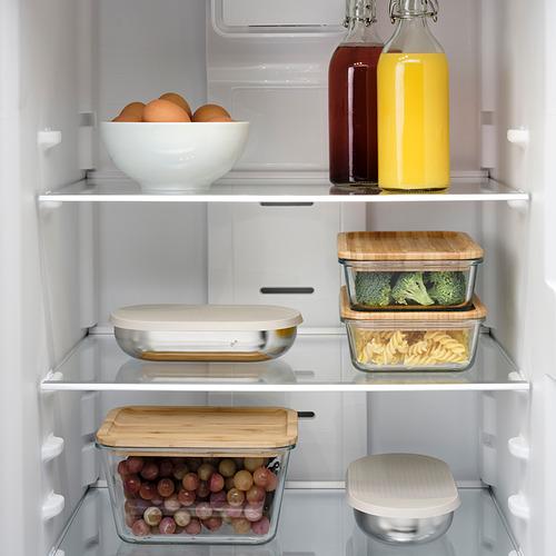 HALVVARM - 食物盒連蓋及間隔, 不銹鋼/米黃色   IKEA 香港及澳門 - PE825891_S4