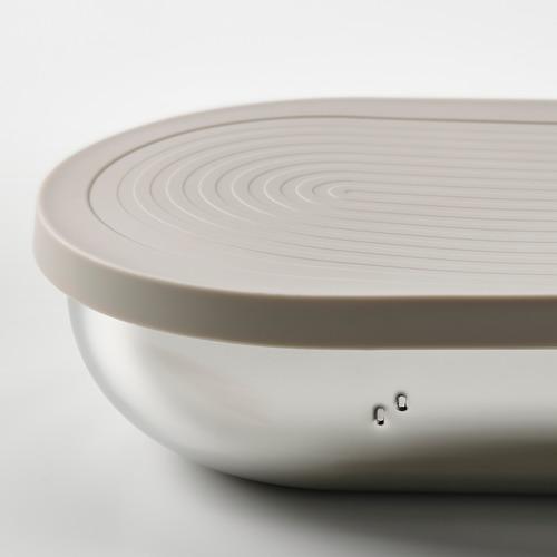 HALVVARM - 食物盒連蓋及間隔, 不銹鋼/米黃色   IKEA 香港及澳門 - PE825895_S4