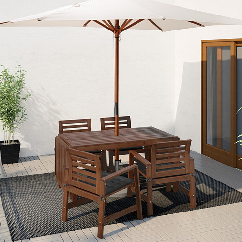 ÄPPLARÖ - table+4 chairs w armrests, outdoor, brown stained | IKEA Hong Kong and Macau - PE619178_S4