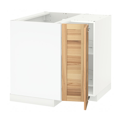 METOD - corner base cabinet with carousel, white/Torhamn ash | IKEA 香港及澳門 - PE567692_S4