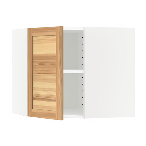 METOD - corner wall cabinet with shelves, white/Torhamn ash | IKEA Hong Kong and Macau - PE567905_S4