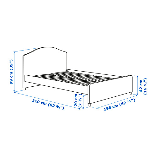 HAUGA - upholstered bed frame, vissle grey, queen | IKEA Hong Kong and Macau - PE770389_S4