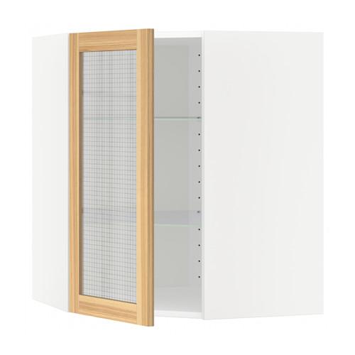 METOD corner wall cab w shelves/glass dr