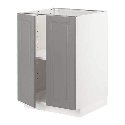 METOD - base cabinet with shelves/2 doors, white/Bodbyn grey | IKEA Hong Kong and Macau - PE726249_S4