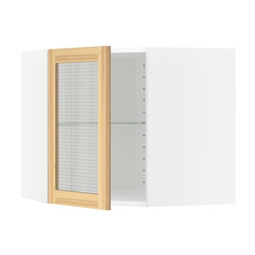 METOD - 角位吊櫃連層板/玻璃門, 白色/Torhamn 梣木   IKEA 香港及澳門 - PE568047_S4
