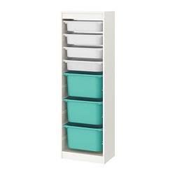 TROFAST - storage combination with boxes, white/white turquoise | IKEA Hong Kong and Macau - PE770486_S3