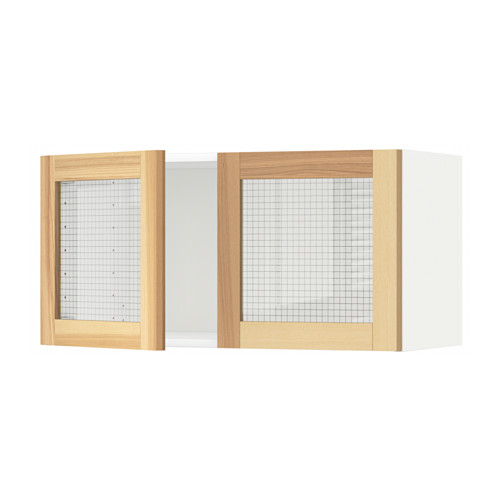 METOD wall cabinet with 2 glass doors