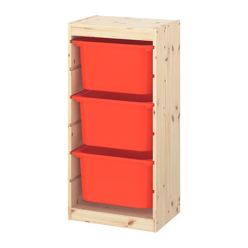TROFAST - 貯物組合連物盒, light white stained pine/orange | IKEA 香港及澳門 - PE770583_S4