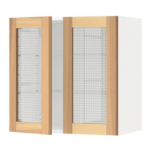 METOD - wall cabinet w shelves/2 glass drs, white/Torhamn ash | IKEA Hong Kong and Macau - PE568427_S4