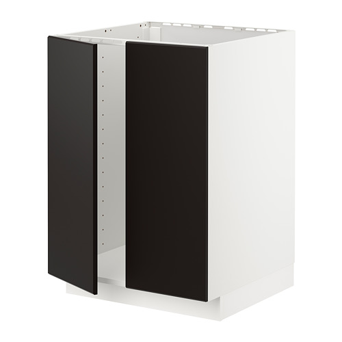 METOD - base cabinet for sink + 2 doors, white/Kungsbacka anthracite | IKEA Hong Kong and Macau - PE726401_S4