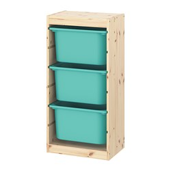 TROFAST - storage combination with boxes, light white stained pine/turquoise | IKEA Hong Kong and Macau - PE770603_S3