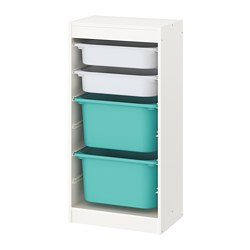 TROFAST - storage combination with boxes, white/white turquoise | IKEA Hong Kong and Macau - PE770609_S3