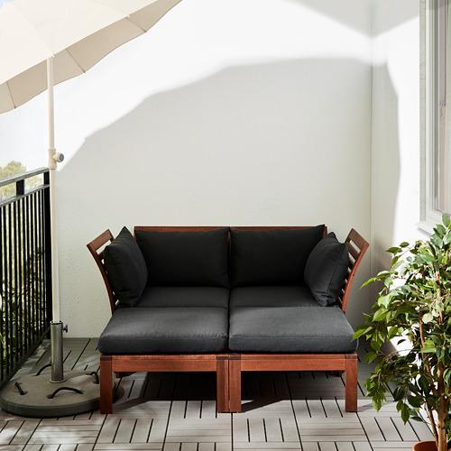 ÄPPLARÖ - 2-seat modular sofa, outdoor, with footstool brown stained/Hållö black   IKEA Hong Kong and Macau - PE617526_S4