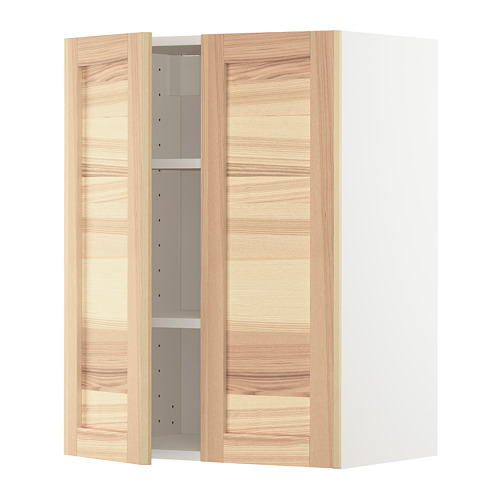 METOD - wall cabinet with shelves/2 doors, white/Torhamn ash | IKEA Hong Kong and Macau - PE726489_S4
