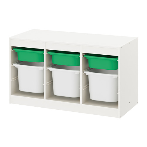 TROFAST - storage combination with boxes, white green/white | IKEA Hong Kong and Macau - PE770655_S4
