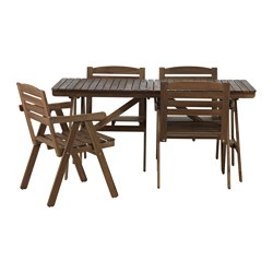 FALHOLMEN - table+4 chairs w armrests, outdoor, light brown stained | IKEA Hong Kong and Macau - PE635311_S3