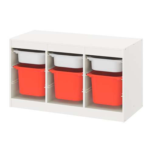TROFAST - storage combination with boxes, white white/orange | IKEA Hong Kong and Macau - PE770789_S4