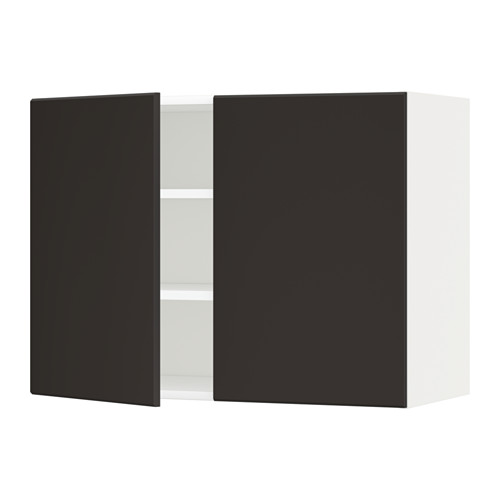 METOD - wall cabinet with shelves/2 doors, white/Kungsbacka anthracite | IKEA Hong Kong and Macau - PE635608_S4