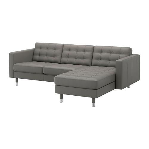 LANDSKRONA - 3-seat sofa, with chaise longue/Grann/Bomstad grey-green/metal | IKEA Hong Kong and Macau - PE684249_S4