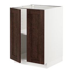 METOD - 地櫃連層板/一對門, 白色/Edserum 褐色   IKEA 香港及澳門 - PE726758_S3