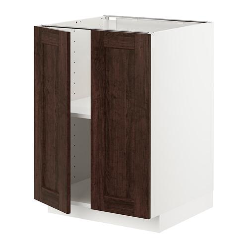 METOD - base cabinet with shelves/2 doors, white/Edserum brown | IKEA Hong Kong and Macau - PE726758_S4