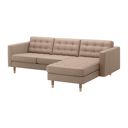 LANDSKRONA - 3-seat sofa, with chaise longue/Grann/Bomstad dark beige/wood | IKEA Hong Kong and Macau - PE684299_S4