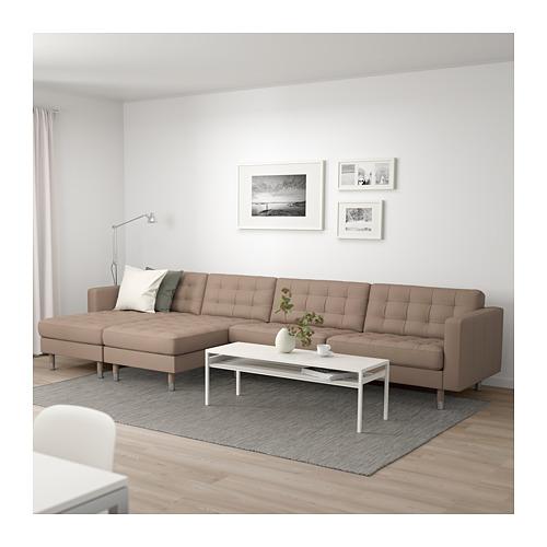 LANDSKRONA - 5-seat sofa, with chaise longues/Grann/Bomstad dark beige/metal | IKEA Hong Kong and Macau - PE684306_S4