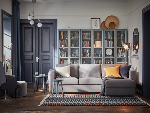BILLY - bookcase with glass-doors, grey-turquoise/white stained oak veneer | IKEA Hong Kong and Macau - PH176783_S4