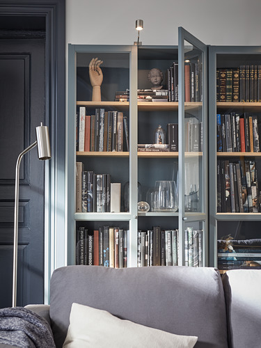 BILLY - bookcase with glass-doors, grey-turquoise/white stained oak veneer | IKEA Hong Kong and Macau - PH176786_S4