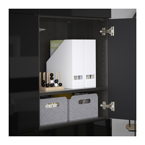 BESTÅ - storage combination with doors, black-brown/Selsviken high-gloss/black   IKEA Hong Kong and Macau - PE635940_S4