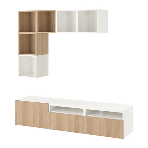 EKET/BESTÅ - cabinet combination for TV, white/white stained oak effect | IKEA Hong Kong and Macau - PE726941_S4