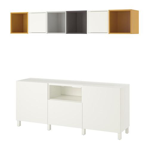 EKET/BESTÅ - 電視貯物組合, white light grey/dark grey/golden-brown   IKEA 香港及澳門 - PE726942_S4